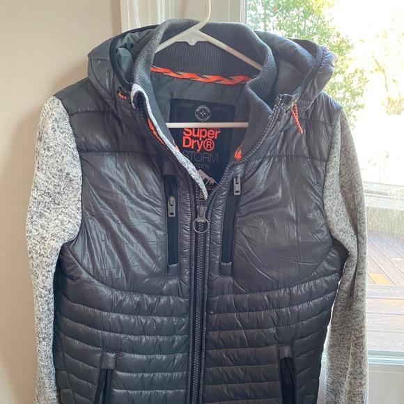 Superdry Storm Hybrid Zip Up Hoodie Mens Hood Jacket Top Navy Black Blue